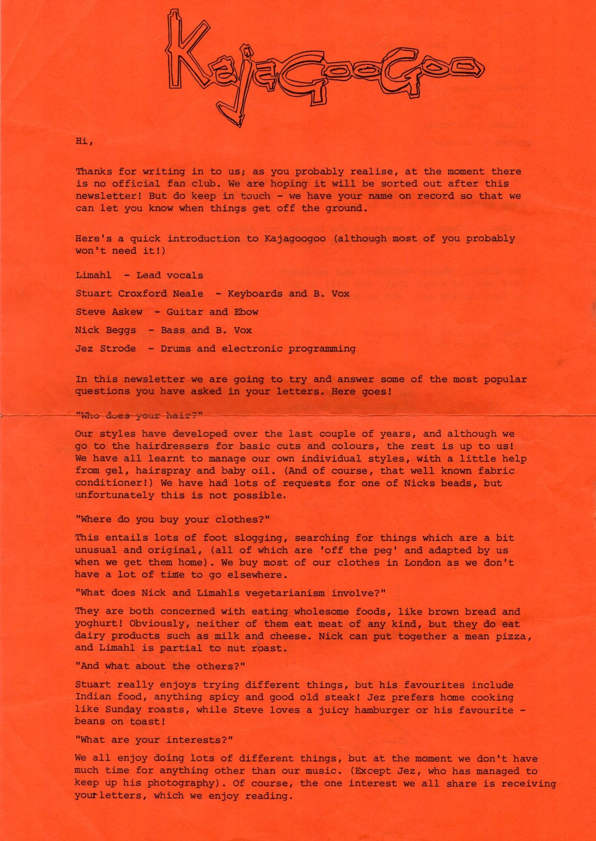 01 kajagoogoo info letter front