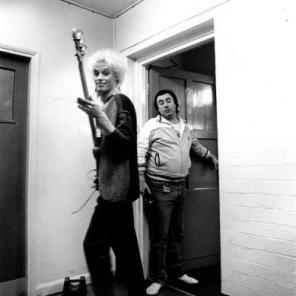 Nick Beggs backstage, White Feathers tour 1983