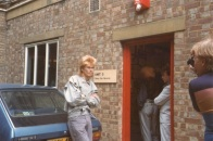 Jez, outside Gimpy Dak Records, 1984