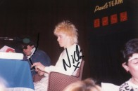 Nick filming the BBC Show Pop Quiz with DJ Mike Read - April 21st 1984 (signed photo)