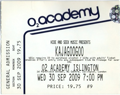 Islington Kajagoogoo Ticket Stub