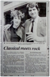 """A gem from the front page of the Irish News for Saturday 25th June 1983. A photo and story featuring Stuart Neale and his brother having a pint at the Crown Bar in Belfast. His brother happened to be playing in the Ulster Orchestra at the time"""